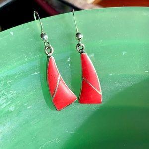 Red jasper and sterling earrings